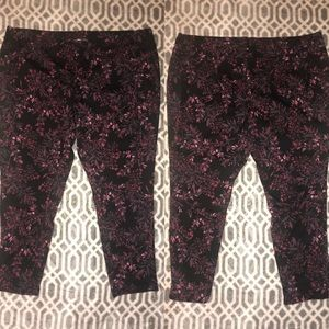 Black with pink flowers jeggings